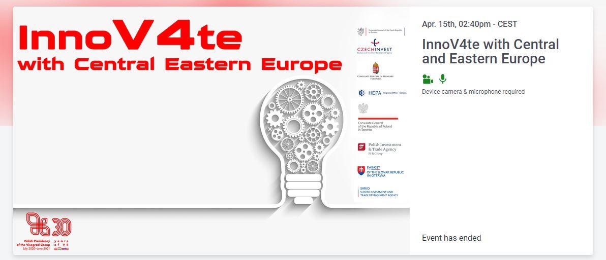 """Webinar i Networking: możliwości biznesowe w Kanadzie i Grupie Wyszehradzkiej """"InnoV4te with Central and Eastern Europe"""""""